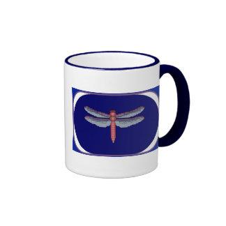 Dragonfly Framed Cross Stitch Pattern Ringer Coffee Mug