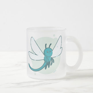 Dragonfly Frosted Glass Coffee Mug