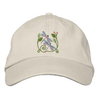 Dragonfly Garden Embroidered Baseball Hat