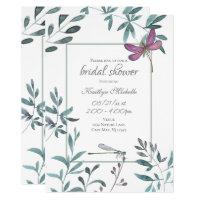 Dragonfly Garden Greenery on White Bridal Shower Invitation