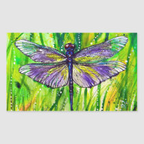 Dragonfly Garden Rectangular Sticker