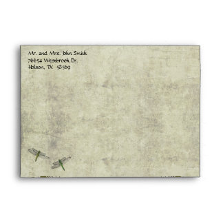 Dragonfly Garden Vintage Wedding Envelope