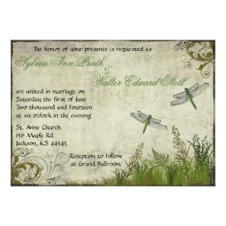 Dragonfly Garden Vintage Wedding Invitation