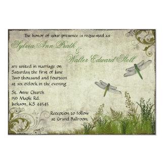 "Dragonfly Garden Vintage Wedding Invitation 5"" X 7"" Invitation Card"