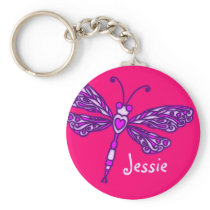 Dragonfly girls purple pink name keychain