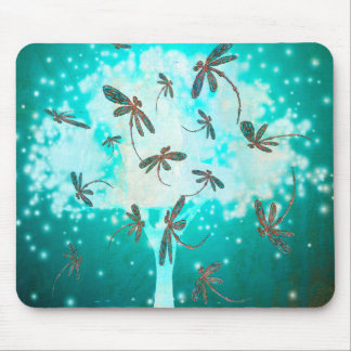 Dragonfly Glow Tree Mouse Pad