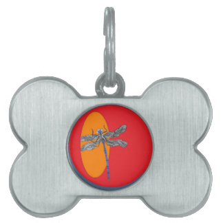 dragonfly graphic pet name tag