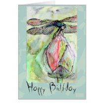 card, birthday, customizable, dragonfly, insects, flowers, watercolors, fine art, ginette, nature, ooak, unique, greeting card, feminine, nature lover, dragon fly lover, watercolor, Card with custom graphic design