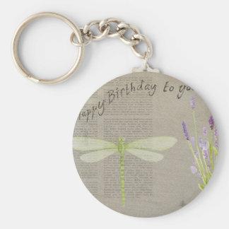 dragonfly happy birthday keychain