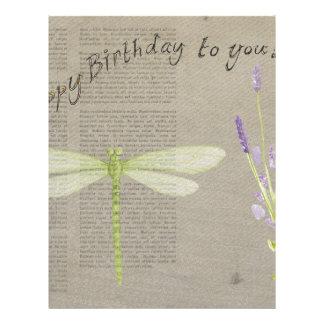 dragonfly happy birthday letterhead