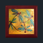 "Dragonfly Haze Jewelry Box<br><div class=""desc"">Gorgeous metallic colored dragonflies on a gold washed background. From my original dragonfly artwork.