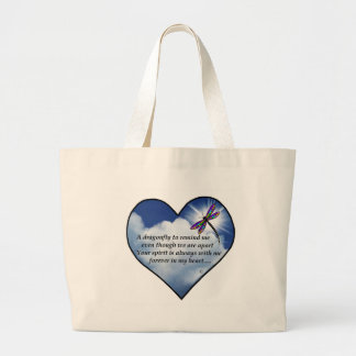Dragonfly Heart Poem Large Tote Bag