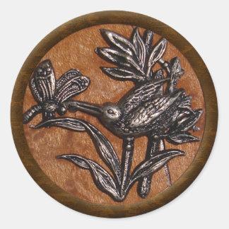 Dragonfly & Humming Bird Classic Round Sticker