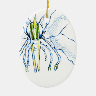 Dragonfly I Fly Double-Sided Oval Ceramic Christmas Ornament