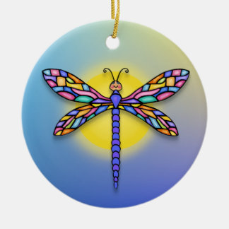Dragonfly - in blues (round) ceramic ornament
