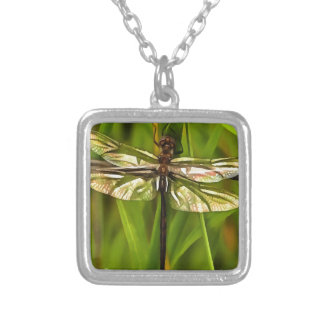 Dragonfly In Brown And Yellow Silver Plated Necklace