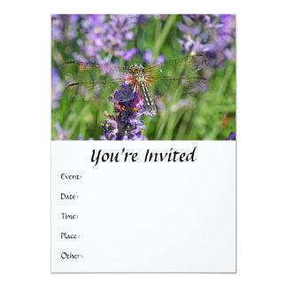 Dragonfly in Lavender Garden 5x7 Paper Invitation Card