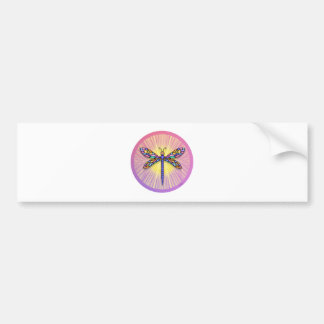 Dragonfly - in pinks - with rays  (round) bumper sticker