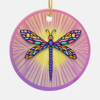 Dragonfly - in pinks - with rays  (round) ceramic ornament