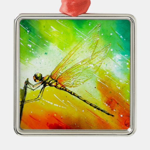 Dragonfly in the Wind Square Metal Christmas Ornament