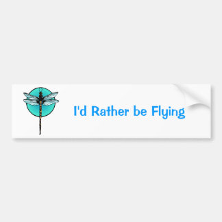 Dragonfly in Turquoise Circle Car Bumper Sticker