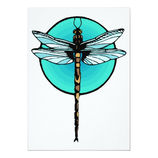 Dragonfly in Turquoise Circle Card