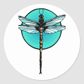 Dragonfly in Turquoise Circle Classic Round Sticker