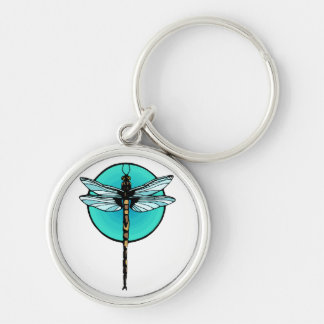 Dragonfly in Turquoise Circle Keychains