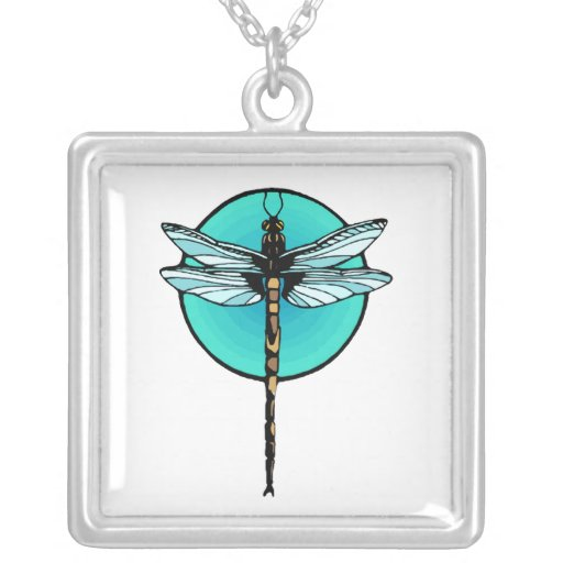 Dragonfly in Turquoise Circle Square Pendant Necklace