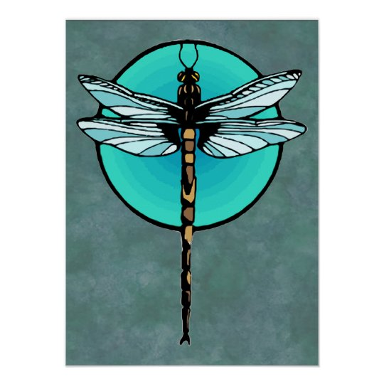 Dragonfly in Turquoise Circle Poster