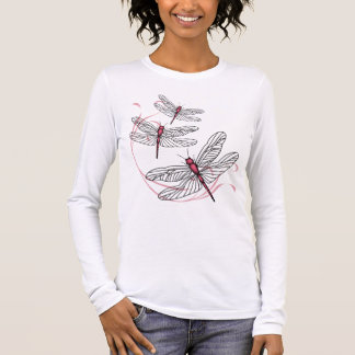 Dragonfly Ladies Long Sleeve Pink T-shirt
