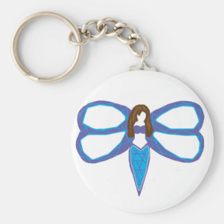 Dragonfly lady 2 basic round button keychain