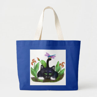 Dragonfly Lands on a Tail Large Tote Bag