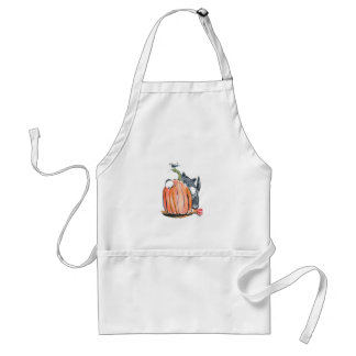 Dragonfly Leads Kitten Through the Pumpkin Patch Adult Apron