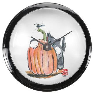 Dragonfly Leads Kitten through the Pumpkin Patch Aquavista Clock