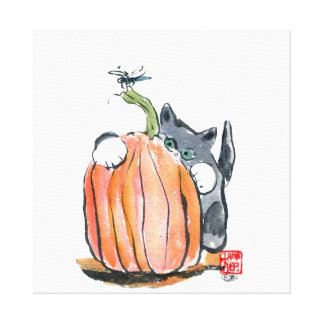 Dragonfly Leads Kitten through the Pumpkin Patch Stretched Canvas Prints