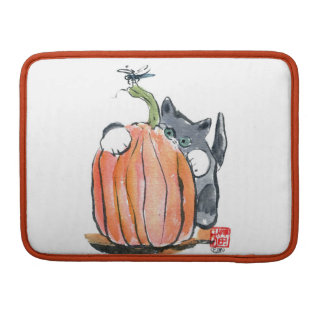 Dragonfly Leads Kitten Through the Pumpkin Patch Sleeves For MacBook Pro