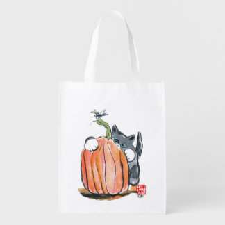 Dragonfly Leads Kitten Through the Pumpkin Patch Market Tote
