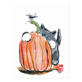 Dragonfly Leads Kitten Through the Pumpkin Patch Postcard