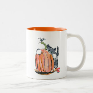 Dragonfly Leads Kitten Through the Pumpkin Patch Two-Tone Coffee Mug
