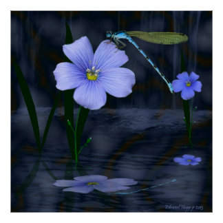 Dragonfly Lillies and Waterfalls Poster