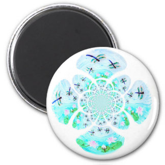 Dragonfly Lillies Flowers Pattern Magnet