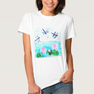 Dragonfly, Lilly Flowers Pond Art T-Shirt