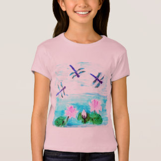 Dragonfly, Lilly Flowers Pond T-Shirt