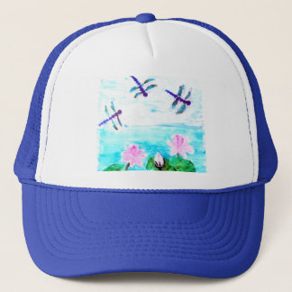 Dragonfly, Lilly Flowers Pond Trucker Hat