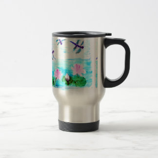 Dragonfly, Lily Flowers Pond Painting 15 Oz Stainless Steel Travel Mug