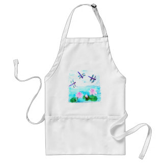Dragonfly, Lily Flowers Pond Painting Adult Apron