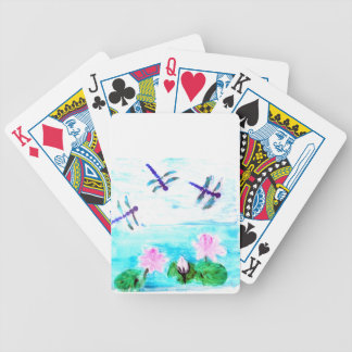 Dragonfly, Lily Flowers Pond Painting Bicycle Playing Cards