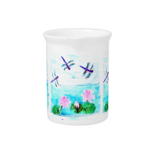 Dragonfly, Lily Flowers Pond Painting Drink Pitcher