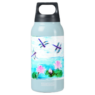 Dragonfly, Lily Flowers Pond Painting Insulated Water Bottle
